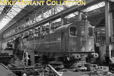 Bulleid class 70 'Booster' Co-Co electric locomotive no. 20003 undergoing overhaul in Eastleigh works in early 1965. [Mike Morant collection]