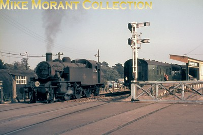 Ivatt 'Mickey Mouse' 2-6-2T no. 41316 at Lymington Pier station on 28/8/66. 41316 was a Bournemouth based engine at the time and would be withdrawn in the coming October. [Mike Morant collection]