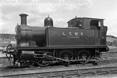 Former Plymouth Devonport & South Westyern Junction Railway 0-6-0T A. S. Harris in LSWR livery but not numbered at Plymouth Friary on 15/8/1923. This loco was built by Hawthorn Leslie & Co. along with its 0-6-2 cousins for the opening of the PDSWJR in 1908 and was originally numbered '3'. It would subsequently be assigned the LSWR no. 756 and didn't last as long as 757 & 758 being withdrawn at London's Stewarts Lane depot in October 1951. [H. C. Casserley / Mike Morant collection]