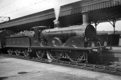 LBSCR, Stroudley B1 class 0-4-2 no. 188 at Clapham Jct. on 4/8/1920. No. 188, originally named Allen Sarle, was built at Brighton in April 1889 and would be withdrawn as Southern Railway no. B188 in June 1925. [H. C. Casserley / Mike Morant collection]