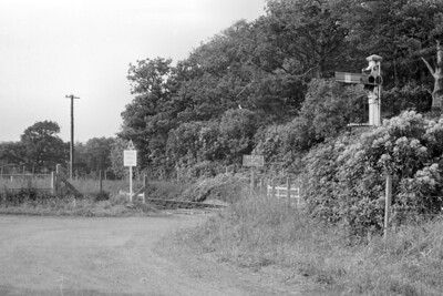 The ungated crossing at Petrockstow station on the North Devon & Cornwall Junction Light Railway. [Mike Morant collection]