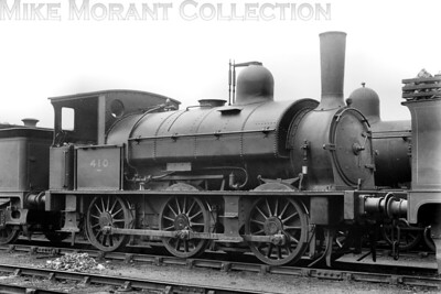 LSWR, Beattie era 0-6-0 saddle tank no. 410 at its home, Eastleigh, on April 15th, 1923. No. 410 was designed and built by Beyer Peacock and delivered to the LSWR in May 1882 and would be withdrawn as SR E410 in September 1930. [H. C. Casserley / Mike Morant collection]