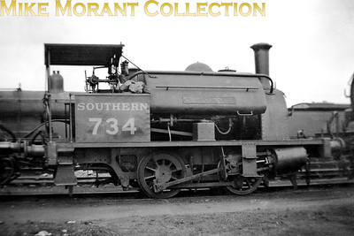 This is 0-4-0ST no. 734 Clausentum which had entered LSWR stock in 1892 as a shunter for the burgeoning Southampton Docks hence the engine's name which is the Roman one for Southampton. The loco had originally been delivered by Hawthorn Leslie in 1890 but weren't incororated into the LSWR's capital stock until they had proved themselves in service. This undated shot was taken at Eastleigh. Clausentum would continue to give sporadic service until withdrawal in September 1945 whilst allocated to Eastleigh. [Mike Morant collection]