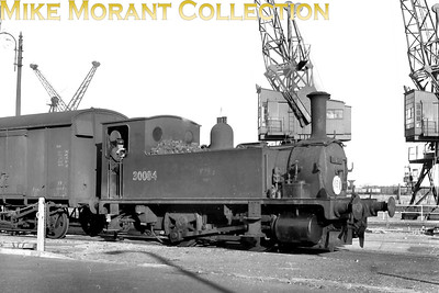 Adams B4 class 0-4-0 dock tank no. 30084 at Dover on 2/9/55. Pictures of this class in action at Dover seem to be much scarcer than those taken at Southampton and the Bournemouth area. 30084 was a a Dover Marine engine from August 1951 until withdrawal in August 1959. [Mike Morant collection]