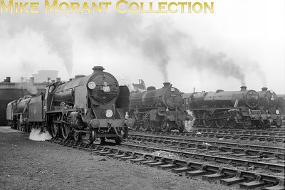 April 29th, 1961 brought unusual motive power to Neasden shed in the form of three Maunsell 'Schools' class 4-4-0's which had brought specials from the Southern in connection with a youth football international between England and Wales at Wembley stadium which, I think, the home tream won 1 - 0. Here we see 30923 Bradfield at the left of shot and an, as yet, unidentified Schools class just visible on the right whilst the third 'Schools'. 30938 St. Olave's, was positioned behind it. Between the two Schools are Thompson B1 class 4-6-0 no. 61266 from Sheffield Darnall and Staier Black 5 no. 45217 from Annesley shed. [Mike Morant collection]
