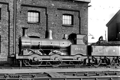LSWR, double-framed, 'Beyer Goods' 0-6-0 no. 273A at Strawberry Hill shed on 24/3/1923. Built by Beyer Peacock in August 1872, no. 273 had been renumbered to 273A in September 1917 and would be withdrawn in May 1924 [H. C. Casserley / Mike Morant collection]