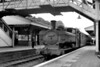 Worcester allocated, Collett 5700 class 0-6-0 pannier tank no. 3775 pauses at Evesham station on 7/8/56.<br> [<i>Mike Morant collection</i>]
