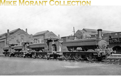 Nearest the camera is GWR no. 1217 was an 850 class 0-6-0PT Armstrong design built at the company's Wolverhampton works in 1876 and is depicted here at Swindon circa 1930. Next in line is no. 2059 a Swindon built, Dean designed 2021 class pannier tank of 1899 vintage. [Mike Morant collection]