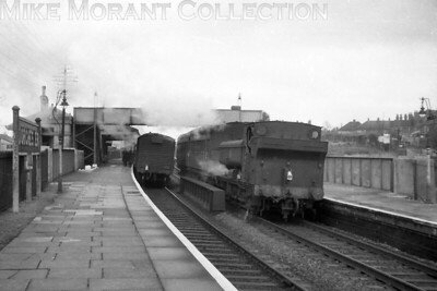 Collett 5700 class 0-6-0PT no. 5781 and autocoach form the 9.28 a.m. from Weymouth service on arrival at Dorchester West on 20/1/56. The left side of the scene is little changed today mor than 60 years on but the right hand side bears no resemblance to the current view. [H. C. Casserley / Mike Morant collection]