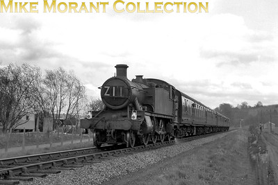 """Great Western Preservation Society: The Thames-Side Rail Tour 21/4/63 Rather careworn looking Collett 6100 class 2-6-2T no. 6128 was in charge of this tour from Windsor Central - Bourne End - Marlow - Bourne End - High Wycombe - Paddington and this shot is described as """"Marlow"""" meaning, probably, the branch rather than the town. The sixbellsjuncyion has this to say: """"This was the first tour organised by the Great Western Preservation Society (since renamed Great Western Society). Advertised for a 61xx loco throughout, the use of 9661 was met with protest and at Windsor it was replaced by 6128 for the remainder of the trip."""