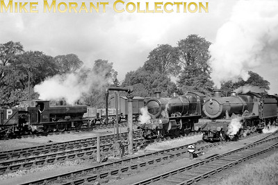 A 1939 shot taken at Proinces Risborough featuring Armstrong/Dean2021 class pannier tank no. 2118, and unidentified Churchward mogul from the 6300 series and Collett 4-6-0 no. 5961 Toynbee Hall. [J. H. Venn / Mike Morant collection]