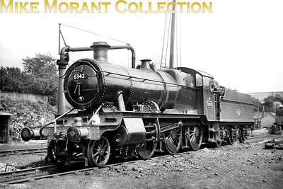Ex-works, green liveried Churchward mogul no. 6343, 83B Tuanton allocated at the time, on shed at Bournemouth having just worked in with a special from Didcot on 20th July 1958. [Mike Morant collection]