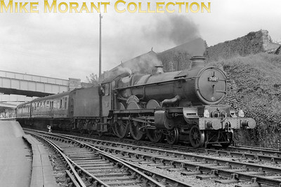 Collett Castle class 4-6-0 no. 7001 Sir James Milne departs from Saltash in May 1959. 7001 was an 81A Old Oak Common engine when this shot was taken. A double chimney and four row superheater were fitted in September 1960 whilst still at 81A. Reallocation to 84A Wolverhampton Stafford Road followed in September 1961 and a final move to 84B Oxley in September 1963 where withdrawal took its toll in the same month. [Mike Morant collection]