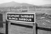 CIE Valencia Harbour station running-in board taken in September 1957.<br> [<i>Mike Morant collection</i>]