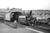 A September 1957 view of the famed Fintona tram at Fintona Town station with the wooden trainshed as the backdrop. Both Fintona Junction and the connecting tramway to Fintona Town would close on 1/10/57 shortly after this photo was taken.<br> [<i>Mike Morant collection</i>]