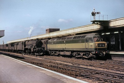 BR, Brush Type 4 Co-Co diesel no. D1740 arrives at Leamington Spa station whilst in charge of an Up Birmingham Pullman service. D1740, wearing thae two-tone green livery that suited the class so well, was new into service at Old Oak Common depot on 12/6/64 and so was brand new when this shot was taken  on an unspecified date in 1964. This service was normally operated by the famed Blue Pullmans but would be operated with a locomotive and a dedicated umber & cream set if the blue unit was unavailable for whatever reason. The steam hauled goods train on the through road is in the charge of an unidentified Stanier 'Jubilee' class 4-6-0 which still has its nameplates in situ. [Mike Morant collection]