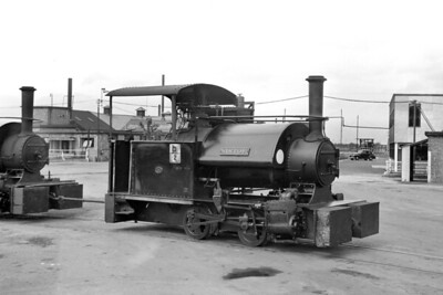 """The BICC plant at Belvedere in Kent was home to a 3' 6"""" gauge steam operated railway and Sir Tom was a Bagnall built 0-4-0ST with works no. 2135 of 1925 vintage photographed here on 11/8/57. [Mike Morant collection]"""