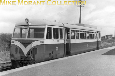 CDRJC railcar no. 20 at Strabane. No. 20 is of 1951 vintage and was sold, along with sister railcar no. 19, to Th Isle of Man railway when the CDR closed in 1959.  [John Bell / Mike Morant collection]