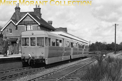 The experimental 3-car, two tone grey railcar on former GER metals at Southminster on an unspecified date in 1953. [Mike Morant collection]