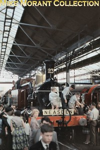 My only interior shot taken at the Metropolitan Railway Centenary exhibition at Neasden on 26/5/63 sees Beyer Peacock 'A' class 4-4-0T no. L23 under siege. [Slide taken by Mike Morant]