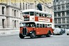 Preserved London Transport Tilling ST922 double-deck bus with outside staircase on heritage route 100 leaving Horse Guards Avenue and about to join northbound traffic in Whitehall in central London.<br> [<i>Slide taken by Mike Morant</i>]