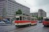 Romanian RATB Bucuresti 4-wheeled tram no. 462 and trailer on the streets of Bucharest on 30/5/91.<br> [<i>Mike Morant collection</i>]