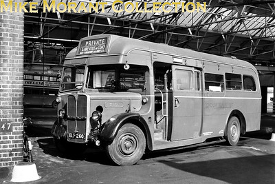 London Transport red livceried 10T10 no. T536, registration no. ELP 260, at its home garage, Kingston. [Mike Morant collection]