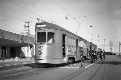 Brisbane City Council tram car no. 527 replaces a damaged car at a safety zone in Upper Roma St. In August 1956. No. 527 was a 400 class vehicle and was the final tram design to enter BCC service. The Brisbane tramway system came to an end on April 13th, 1969. [Mike Morant collection]