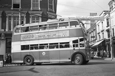 Maidstone Corporation trolleybus Fleet no.: 85 Registration: BDY 807 Chassis: Sunbeam Body: Weymann Entered service: 3/59 Withdrawn: 12/65 Location: Taken in June 1962 in Maidstone High Street, corner of Week Street (opposite).  The trolleybus has come up the High Street and is about to turn down Gabriel's Hill. [Mike Morant collection]