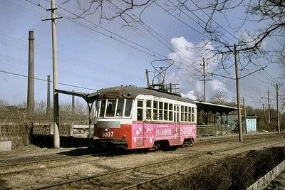 The city of Anshan in the Chinese province of Liaoning had a solitary tram route from 1956 and this car, no. 1007, was photographed on 22/3/98. The 'system' closed shortly thereafter and the track was lifted in 2006. [Mike Morant collection]