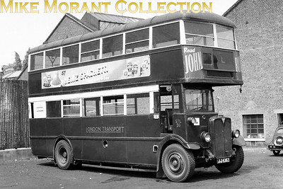 Green liveried, London Transport 'GENERAL' STL50, registration no. JJ 4363, at Putney Bridge garage. STL50 was allocated to 'U' Upton Park garage and is depicted on driver training duties which was its function from 1/48 until sale to Daniels scrapyard in October 1949.  [Mike Morant collection]