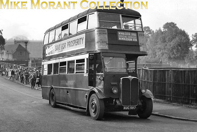 London Transport 'Leaning-back' STL 323, registration no. AUC 587, on special duty operating a Wimbledon station to the Tennis Ground shuttle service almost certainly in July 1948. The Tennis Ground is actually just about visible in the background and note the long but orderly queue. STL 323 is shown here with an AF Putney Bridge garage plate and was withdrawn in October 1948. [Mike Morant collection]