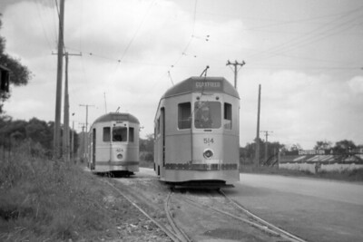 Brisbane City Council 400 class tram car no. 514 at what the sleeve note says is Salisbury in 1955. [Mike Morant collection]