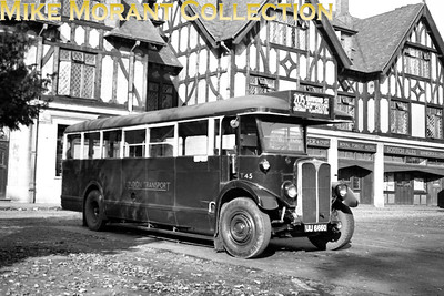 London Transport 'Tilling' T45, registration no. UU 6660, basks in the sun outside the Toyal Forest Hotel at Chingford whilst operating route 205 out of Enfield garage in 1948. T45 would migrate south of the Thames and would be withdrawn at Kingston garage in December 1951. [Mike Morant collection]
