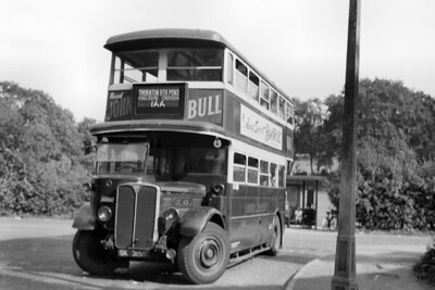 London Transport  ST431 operating the 166 route to Thornton Heath Pond photographed here at the How Lane terminal point in Chipstead Valley during 1948. St431 was available for this route only April and October of that year. [Mike Morant collection]