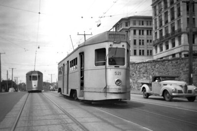 Brisbane City Council tram car no. 521 at an undisclosed location in 1955. Love the pick-up truck on the right. [Mike Morant collection]
