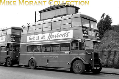 London Transport Duple bodied highbridge Daimler bus no. D136, registration no. HGC 263, on route 118 to Clapham Common at Raynes Park. D136 was built in 1945 and would be withdrawn in December 1953. The garage plate on D136 is AL (Merton) but it's worth noting that STL1234 standing behind D136 is also on route 118 and has, to my surprise, an 'A' (Sutton) garage plate. [Mike Morant collection]