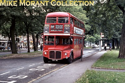 London Transport Routemaster RM32 on route 194B at Monks Orchard Road, Shirley, in 1974. [Mike Morant collection]