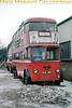 London Transport C2 class trolleybus no. 260 stored alongside Smith's garage at Whitley near Reading in February 1963. What looks like snow was so compacted that the whole area visible here was solid ice.<br> [<i>Slide taken by Mike Morant</i>]