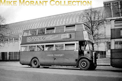London Transport central area 'Leaning-back' STL484, registration no. AYV 629, on route 3 from Chalk Farm garage is depicted here at Crystal Palace with the Palace behind it, The negative isn't dated but must be between 1934 and 1936 as the Palace burned down in Nov 36 and LT took over from the LGOC in 33 but the full use of the new fleetname did not happen until around 1934. [Mike Morant collection]