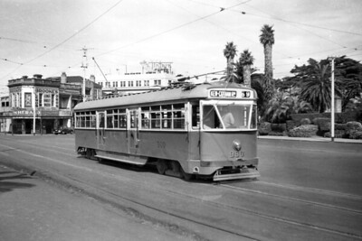 """Melbourne & Metropolitan Tramways Board, W6 class tram car no. 980 at St. Kilda in 1955 when the car was new. It's working on route 69 which doesn't exist any more and the indicator blind states """"KEW - COTHAM RD."""" [Mike Morant collection]"""