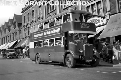 London Transport, Country area, GD Godstone allocated, low bridge STL 2250, registration  DYL874, displaying route 410 to Reigate but taken at what I think is the Bromley end of this long and convoluted route. STL 2250 began life as a red liveried roofbox STL in 1937 but was rebodied thus at Chiswick in April 1943 and was transferred to copuntry are duties in 1944. Withdrawal for STL 2250 came at HD Harrow Weald garage in December 1952. [Mike Morant collection]