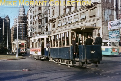Spanish tramcar. Valencia four wheeled tram no. 215 and trailer no. 117 photographed in Plaça de l'Ajuntament on 3/12/66. [J. D. Darby / Mike Morant collection]
