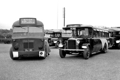 London Transport 4Q4 Country bus no. Q88, registration CGJ 193, on route 418B, at Chessington Zoo shortly after the the declaration of war with germany in 1939. Note the blackout precautions; white mudguard ends and shaded headlamps. Route 418B ceased operating with the end of the 1939 LPTD timetable. PL 661 is a Gilford 168OT (chassis no 11217) with a London Lorries C31- body and was new to W.E. & S.J. Blunt (Mitcham Belle) of Mitcham in June 1930. The other coaches have yet to be identified. The vehicle behind Q88 is the partially obscured registration ?N 4370, whilst the one on the right has only ?V 7301 of the licence plate visible but its indicator blind states ERNIE'S.. [Mike Morant collection]