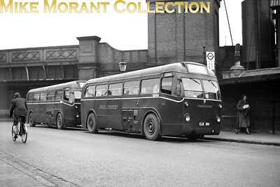 London Transport 5Q5 signle deck bus no. Q161, licence no. CLE 184, at Finsbury Park whilst operating on route 233 to Northumberland Park. Behind Q161 is Q106 which is similarly engaged and both bear WG (West Green) garage plates. [Mike Morant collection]