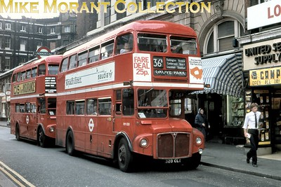 London Transport Routemaster RM1320 on route 36B to Grove Park at what I think is Praed Street, Paddington, in July 1981. [Mike Morant collection]