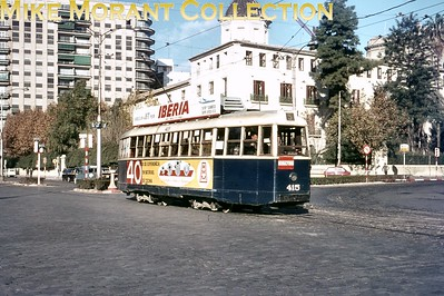 """Spanish tramcar. Valencia bogie tram no. 415 with the location described as """"at tram station in 1966"""". [J. D. Darby / Mike Morant collection]"""