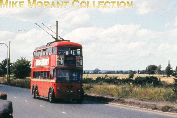 London Transport F1 class trolleybus no. 743 is shown here on the 630 route to West Croydon at the Thornton Heath end of Mitham Common in 1960.<br> [<i>Slide taken by Mike Morant</i>]