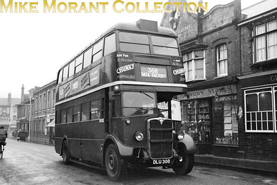 London Transport, country area Roof-box STL type bus no. STL1916, registration DLU 308 and bearing a 'GY' Grays garage plate, negotiates the streets of Grays on route 384 to the BATA shoe factory at East Tilbury. This service was purely for the benefit of BATA's employees and ran only to accommodate the shift changes at the factory. [Mike Morant collection]