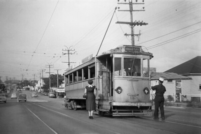 Brisbane City Council 'Dreadnought' tram car no. 130 at Cooraroo in January 1957. The Brisbane tramway system came to an end on April 13th, 1969. [Mike Morant collection]
